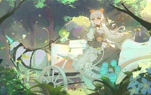 Rating: Safe Score: 58 Tags: a_dream animal bow dress fairy flowers forest horse long_hair orange_eyes original tree unicorn white_hair User: BattlequeenYume
