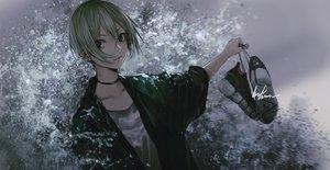 Rating: Safe Score: 22 Tags: black_eyes collar green_hair idolmaster idolmaster_cinderella_girls infukun shiomi_shuuko short_hair signed water User: RyuZU