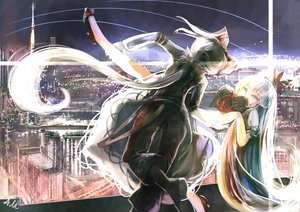 Rating: Safe Score: 29 Tags: ameru.miro bow building city fujiwara_no_mokou kamishirasawa_keine long_hair night signed touhou white_hair User: HawthorneKitty