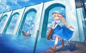 Rating: Safe Score: 35 Tags: animal aqua_eyes boat boots bow braids building cat city clouds dress hat kneehighs original ponytail shichigatsu sky water User: BattlequeenYume