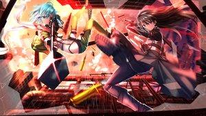 Rating: Safe Score: 169 Tags: black_hair blue_eyes blue_hair gun gun_gale_online kirigaya_kazuto scarf shinon_(sao) sword_art_online swordsouls weapon User: FormX
