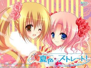 Rating: Safe Score: 11 Tags: blue_eyes brown_eyes brown_hair japanese_clothes kimono minagi_tsumuji natsuiro_straight pink_hair ponytail takagi_sayaka wink User: oranganeh