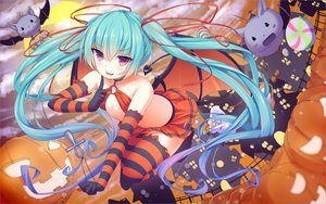 Rating: Safe Score: 175 Tags: animal aqua_hair bat blush breasts candy cross elbow_gloves gloves halloween hatsune_miku long_hair necklace papino pumpkin purple_eyes ribbons skirt tail thighhighs twintails vocaloid wings zettai_ryouiki User: luckyluna
