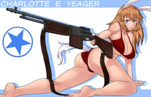 Rating: Safe Score: 73 Tags: animal_ears barefoot bikini blue_eyes breasts brown_hair bunny_ears charlotte_e_yeager cleavage gun long_hair maru_(maruttona) strike_witches swimsuit weapon User: FormX