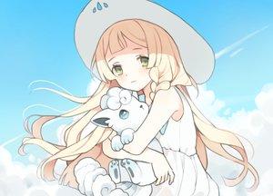 Rating: Safe Score: 12 Tags: blonde_hair braids clouds dress green_eyes hat hinia lillie_(pokemon) long_hair pokemon sky summer_dress vulpix User: otaku_emmy