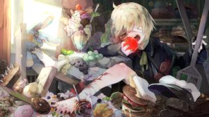 Rating: Safe Score: 3 Tags: all_male apple bandage barefoot blonde_hair bunny candy cape food fruit hat ice_cream lollipop male oliver orange_eyes ribbons short_hair tagme_(artist) vocaloid User: luckyluna
