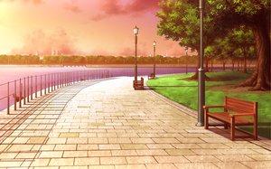 Rating: Safe Score: 72 Tags: game_cg landscape nobody scenic shukufuku_no_campanella sunset tree water windmill_oasis User: Wiresetc