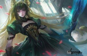 Rating: Safe Score: 108 Tags: animal_ears atalanta_(fate) bow_(weapon) catgirl fate/apocrypha fate_(series) green_eyes green_hair kang_kang_zi long_hair petals tail weapon User: RyuZU