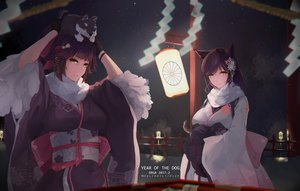 Rating: Safe Score: 59 Tags: 2girls animal_ears anthropomorphism atago_(azur_lane) azur_lane foxgirl japanese_clothes kimono night tagme_(artist) takao_(azur_lane) watermark User: luckyluna