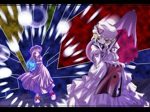 Rating: Safe Score: 8 Tags: blonde_hair book dress hat long_hair mage magic patchouli_knowledge purple_eyes purple_hair ribbons touhou umbrella yakumo_yukari User: Oyashiro-sama