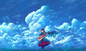 Rating: Safe Score: 33 Tags: animal bird black_hair bou_nin clouds dress flowers guitar instrument long_hair original petals sky User: RyuZU