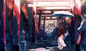 Rating: Safe Score: 40 Tags: agenasuo japanese_clothes kimono mask original purple_hair red_eyes short_hair shrine signed torii umbrella User: RyuZU