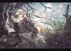 Rating: Safe Score: 111 Tags: all_male anthropomorphism blonde_hair blue_eyes katana male petals senano-yu short_hair sword torn_clothes touken_ranbu tree weapon yamanbagiri_kunihiro User: Flandre93
