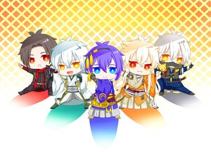 Rating: Safe Score: 37 Tags: all_male animal anthropomorphism aqua_eyes black_hair blonde_hair blue_hair cat_smile chibi fang fox gloves group headband japanese_clothes kashuu_kiyomitsu kogitsunemaru long_hair male mask mikazuki_munechika nakigitsune orange_eyes red_eyes scarf short_hair tagme_(artist) touken_ranbu tsurumaru_kuninaga white_hair User: otaku_emmy