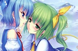 Rating: Safe Score: 88 Tags: blue_eyes blue_hair blush bow cirno cropped daiyousei fairy green_eyes green_hair sayori scan short_hair shoujo_ai touhou wings User: Katsumi