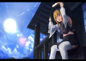 Rating: Safe Score: 7 Tags: aruto2498 blonde_hair hat moriya_suwako skirt sky thighhighs touhou User: Flandre93