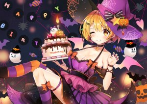 Rating: Safe Score: 48 Tags: animal ayamy bat blonde_hair blush bow breasts cake cleavage food halloween hat heart hololive pumpkin short_hair thighhighs wings wink witch_hat yellow_eyes yozora_mel User: RyuZU