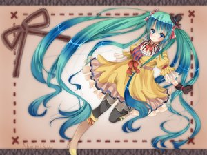 Rating: Safe Score: 61 Tags: aqua_hair blue_eyes boots choker dress gloves hat hatsune_miku jiiwara long_hair pantyhose ribbons twintails vocaloid User: C4R10Z123GT