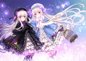Rating: Safe Score: 47 Tags: 2girls alice_(fate/extra) butterfly cage fate/grand_order fate_(series) goth-loli gray_hair hat lolita_fashion long_hair nursery_rhyme_(fate/extra) purple_eyes signed yuzushiro User: BattlequeenYume