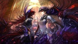 Rating: Safe Score: 159 Tags: armor long_hair original pixiv_fantasia purple_hair red_eyes red_hair sakazu_mekasuke thighhighs User: BoobMaster
