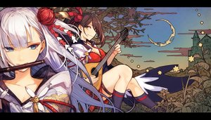 Rating: Safe Score: 53 Tags: 2girls anthropomorphism aqua_eyes azur_lane breasts brown_hair building cleavage close clouds flute garter instrument japanese_clothes kneehighs leaves long_hair mephist-pheles moon orange_eyes ponytail shoukaku_(azur_lane) sky tree white_hair zuikaku_(azur_lane) User: ssagwp
