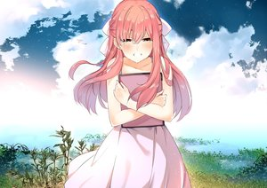 Rating: Safe Score: 108 Tags: aliasing blush clouds crying dress grass junp leaves long_hair pink_hair rin_(shelter) shelter sky summer_dress tears water yellow_eyes User: luckyluna