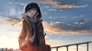 Rating: Safe Score: 42 Tags: black_hair clouds glasses mifuru original reflection scarf short_hair sky sunset User: RyuZU