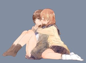 Rating: Safe Score: 16 Tags: 2girls blue brown_eyes brown_hair hug original seifuku short_hair shoujo_ai sketch skirt socks syou_(endemic_species) User: otaku_emmy