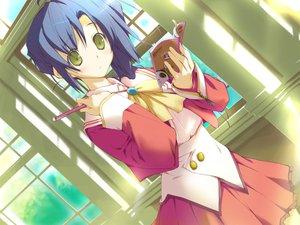 Rating: Safe Score: 15 Tags: blue_hair book favorite game_cg green_eyes happy_margaret! kokonoka nishinomiya_shizuru school_uniform skirt User: 秀悟