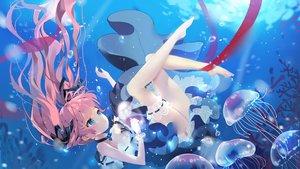 Rating: Safe Score: 166 Tags: animal aqua_eyes barefoot bubbles choker dress fish garter long_hair original pink_hair ribbons tagme_(artist) twintails underwater water wristwear User: sadodere-chan