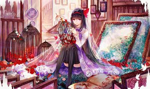 Rating: Safe Score: 38 Tags: akemi_homura bai_qi-qsr butterfly cage flowers headband mahou_shoujo_madoka_magica stairs thighhighs User: luckyluna