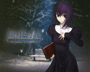 Rating: Safe Score: 50 Tags: black_eyes black_hair book dress kuonji_alice logo mahou_tsukai_no_yoru park snow type-moon winter User: rargy