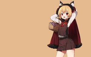 Rating: Safe Score: 63 Tags: animal_ears blonde_hair cape fang hoodie little_red_riding_hood red_eyes rumia sh_(562835932) short_hair skirt touhou User: RyuZU