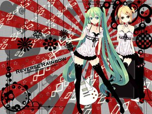 Rating: Safe Score: 74 Tags: guitar hatsune_miku instrument kagamine_rin twintails vocaloid User: mikulover