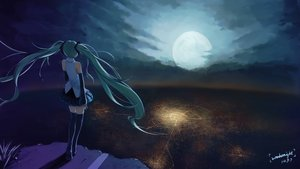 Rating: Safe Score: 96 Tags: aqua_eyes aqua_hair hatsune_miku moon night signed skirt sombernight thighhighs twintails vocaloid User: humanpinka