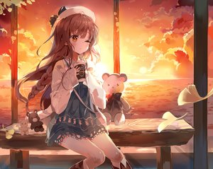 Rating: Safe Score: 31 Tags: boots braids brown_hair clouds dress drink hat long_hair orange_eyes original sky sunset tagme_(artist) teddy_bear wink User: RyuZU