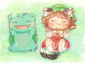 Rating: Safe Score: 15 Tags: animal_ears bow brown_hair bulbasaur catgirl cat_smile chen chibi crossover dress fang grass hat ibaraki_natou multiple_tails pokemon short_hair tail touhou User: otaku_emmy