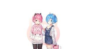 Rating: Safe Score: 43 Tags: 2girls animal aqua_hair blue_eyes blue_hair cat catgirl hitsukuya loli pink_eyes pink_hair ram_(re:zero) rem_(re:zero) re:zero_kara_hajimeru_isekai_seikatsu twins zettai_ryouiki User: hakieuanh