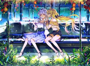 Rating: Safe Score: 43 Tags: 2girls aqua_eyes blonde_hair butterfly dress eunji5625 flowers garter grass gray_hair leaves long_hair orange_eyes original shorts signed train twintails User: BattlequeenYume