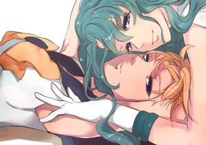 Rating: Safe Score: 48 Tags: 2girls aqua_hair blonde_hair blue_eyes gloves jun_(anna19791220) kaiou_michiru sailor_moon shoujo_ai tenou_haruka yuri User: FormX