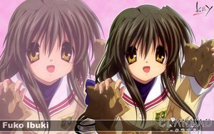 Rating: Safe Score: 14 Tags: brown_hair clannad ibuki_fuuko key logo long_hair school_uniform yellow_eyes zoom_layer User: Oyashiro-sama