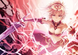 Rating: Safe Score: 107 Tags: blonde_hair elbow_gloves fate/apocrypha fate/grand_order fate_(series) gloves green_eyes mordred navel ponytail short_hair sword tagme_(artist) thighhighs weapon User: RyuZU