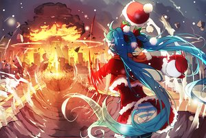 Rating: Safe Score: 124 Tags: aqua_hair bai_yemeng christmas fire hat hatsune_miku panties santa_costume santa_hat striped_panties twintails underwear vocaloid watermark User: Flandre93