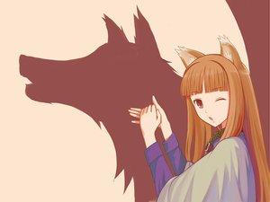 Rating: Safe Score: 192 Tags: animal_ears brown_hair horo ookami_to_koushinryou wink User: Tensa