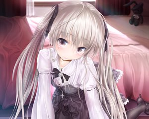 Rating: Safe Score: 372 Tags: cropped goth-loli kasugano_sora lolita_fashion long_hair necklace pantyhose ribbons twintails wingheart yosuga_no_sora User: Wiresetc