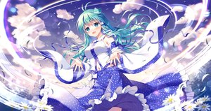 Rating: Safe Score: 57 Tags: clouds flowers green_eyes green_hair japanese_clothes kochiya_sanae long_hair mauve miko navel sky touhou User: BattlequeenYume