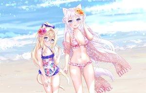 Rating: Safe Score: 48 Tags: 2girls aqua_eyes beach bikini blonde_hair blush catgirl flowers glasses loli long_hair natsumii_chan navel original ponytail swimsuit tail water watermark white_hair User: BattlequeenYume