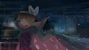 Rating: Safe Score: 23 Tags: bow brown_hair building city glasses hat mifuru rain red_eyes short_hair touhou usami_sumireko water User: RyuZU