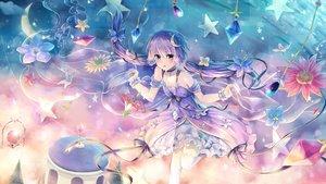 Rating: Safe Score: 65 Tags: bow dress flowers long_hair petals pink_eyes pink_hair ribbons sakakidani stars thighhighs twintails vocaloid voiceroid yuzuki_yukari User: RyuZU