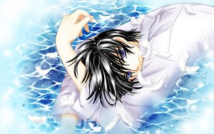 Rating: Safe Score: 10 Tags: all_male black_hair clamp feathers male shirou_kamui water x User: Maboroshi